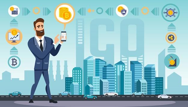 Der mensch verwendet krypto-währungstechnologien