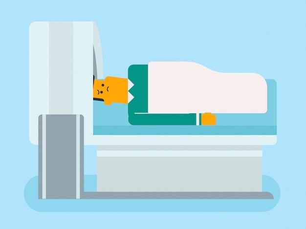 Der mensch wird einer magnetresonanztomographie unterzogen.