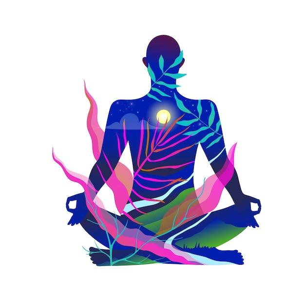 Der menschliche körper, der im lotus sitzt, meditiert in der natur