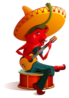 Der mexikanische chili-pfeffer-charakter sombrero spielt gitarre. cinco de mayo urlaub