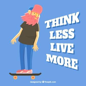 Der moderne mensch mit seinem skateboard inspirierend zitat