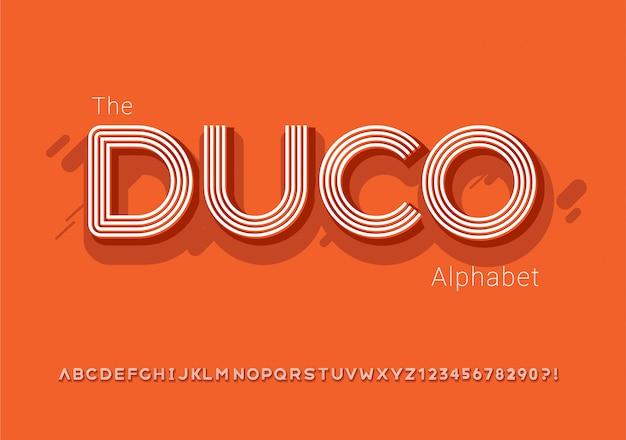 Der modernen fetten schrift mit linie retro-stil und alphabet -