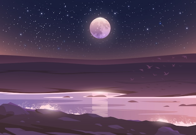 Der mond über einem tal und einem fluss. unglaubliche landschaft. illustration. spannende aussicht. das leben ist wunderschoen.
