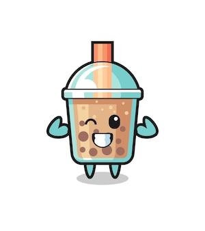 Der muskulöse bubble tea-charakter posiert mit seinen muskeln, süßem design für t-shirt, aufkleber, logo-element