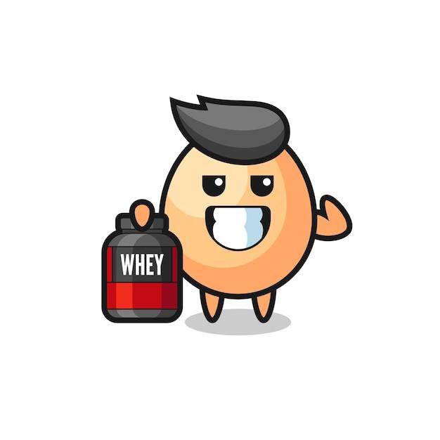 Der muskulöse eicharakter hält eine proteinergänzung, ein süßes design für t-shirts, aufkleber, logo-elemente