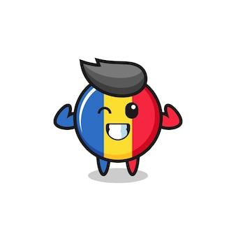 Der muskulöse rumänische flaggen-abzeichen-charakter posiert mit seinen muskeln, süßem design für t-shirt, aufkleber, logo-element