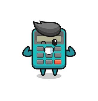 Der muskulöse taschenrechner-charakter posiert mit seinen muskeln, süßem design für t-shirt, aufkleber, logo-element