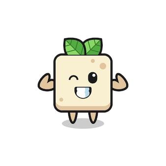 Der muskulöse tofu-charakter posiert mit seinen muskeln, süßem stildesign für t-shirt, aufkleber, logo-element