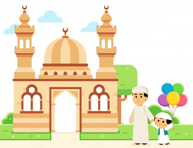 Der muslimische vater und sein sohn gehen zur moschee, um eid zu feiern