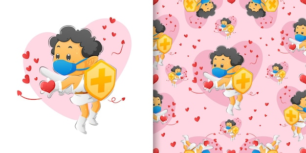 Der mustersatz des amorjungen, der schild hält und die liebe zu den leuten der illustration verbreitet