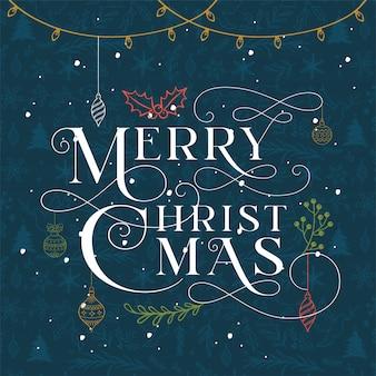 Der nächtliche himmel der typografie frohen weihnachten auf blauem hintergrund.