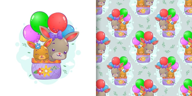 Der nahtlose mustersatz der kaninchen, die im korb mit den luftballons der illustration fliegen