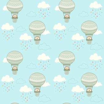 Der nahtlose süße igel sitzt im heißluftballon