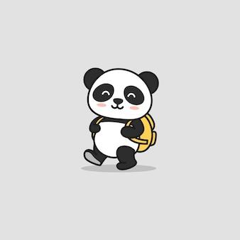 Der nette bereite panda gehen zur schule