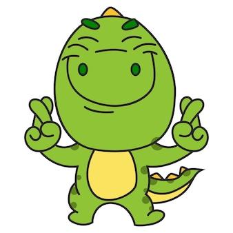 Der nette grüne dinosaurier, der mit dem finger steht, kreuzte zeichen.