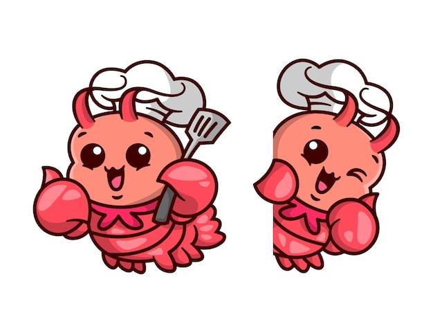 Der nette hummer-koch bringt ein spatel-cartoon-maskottchen-set.