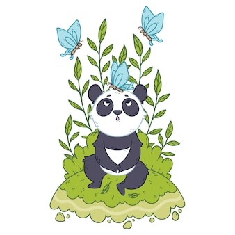 Der nette kleine pandabär, der in einer wiese und in blauen schmetterlingen sitzt, fliegen herum.