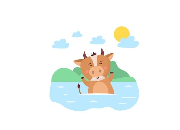 Der neue kalender der kinder für das jahr des chinesischen jahreszeichens des ochsentierbullenkuhs