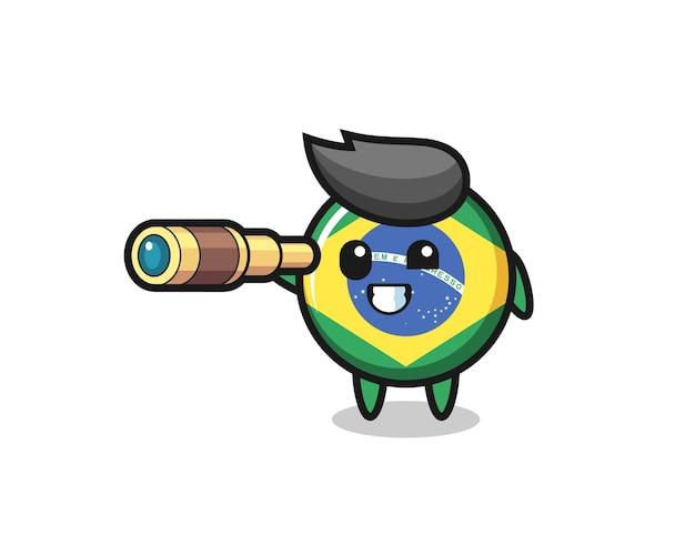 Der niedliche brasilianische flaggen-abzeichen-charakter hält ein altes teleskop, niedliches design für t-shirt, aufkleber, logo-element