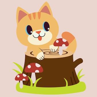 Der niedliche charakter der katze sieht mit dem roten pilz des stumpfes glücklich aus.