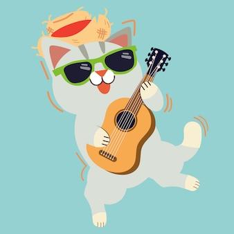 Der niedliche charakter der katze spielt eine gitarre