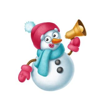 Der niedliche charakter des schneemanns lädt per megaphon zum feiertag merry cristmas ein