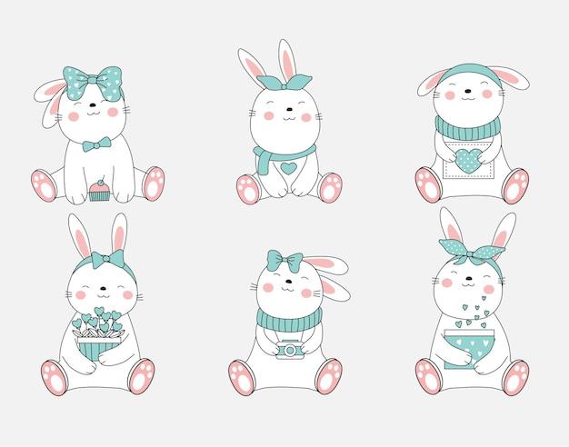 Der niedliche kaninchen-tier-cartoon. handgezeichneter stil