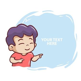 Der niedliche kleine junge mit textballonillustration