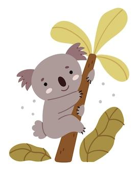 Der niedliche koala kletterte auf eine baumschöne babyillustration