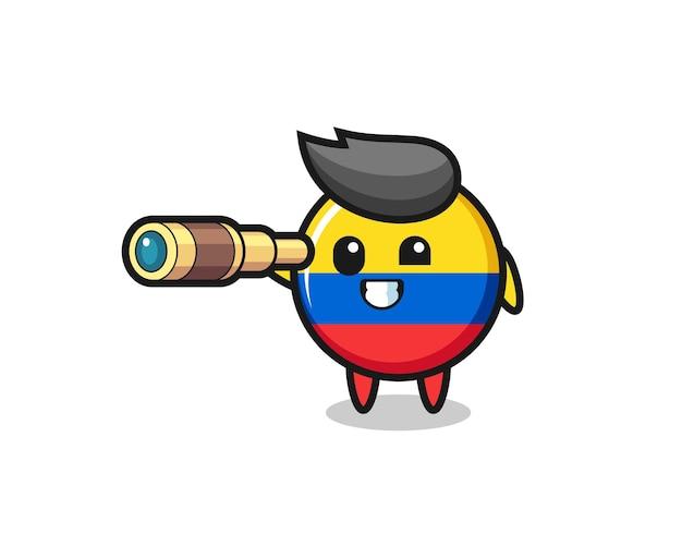 Der niedliche kolumbianische flaggen-abzeichen-charakter hält ein altes teleskop, niedliches design für t-shirt, aufkleber, logo-element