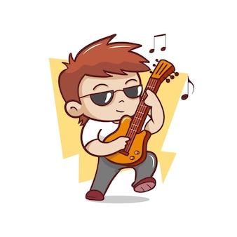 Der niedliche mann, der gitarrenillustration spielt
