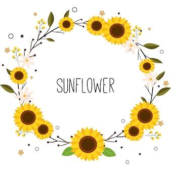 Der niedliche sonnenblumenkranz mit dem text der sonnenblume.