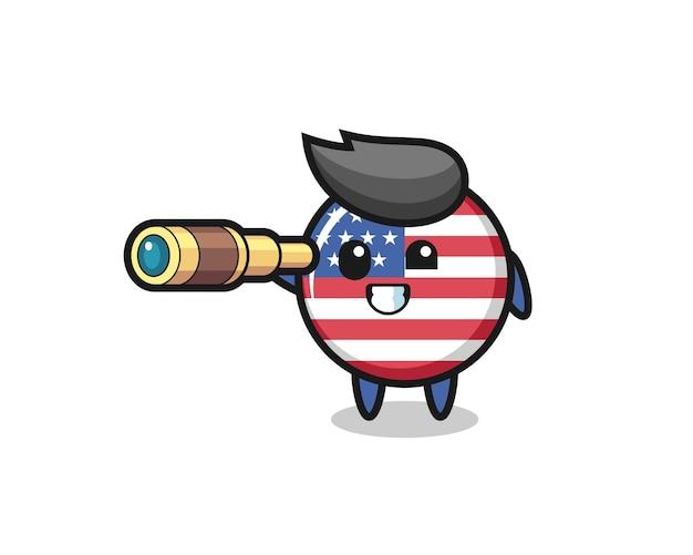 Der niedliche us-flaggen-abzeichen-charakter hält ein altes teleskop, niedliches design für t-shirt, aufkleber, logo-element