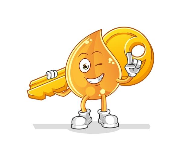 Der öltropfen trägt das schlüsselmaskottchen. karikatur