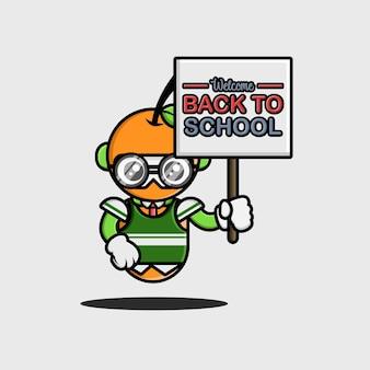 Der orangefarbene schüler mit dem back to school-banner