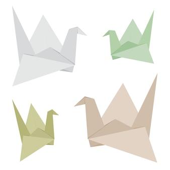 Der origami-vogel, der von gemacht wird, bereiten papiervektor auf