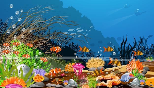 Der ozean, landschaften unter dem ozean und lebewesen, die zusammenleben.