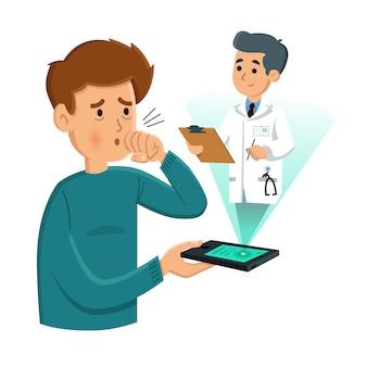 Der patient konsultiert den arzt telefonisch