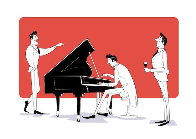 Der pianist sitzt am klavier und spielt musik für die gäste. skizze illustration