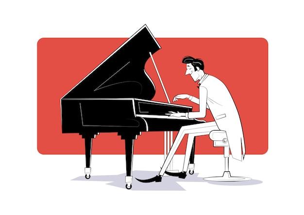 Der pianist sitzt am klavier und spielt musik. skizze illustration