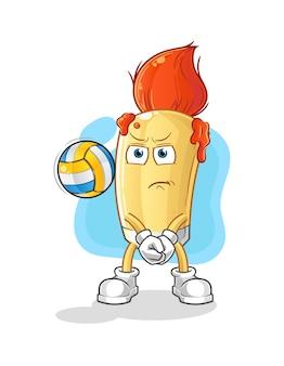 Der pinsel spielt volleyball-maskottchen. karikatur