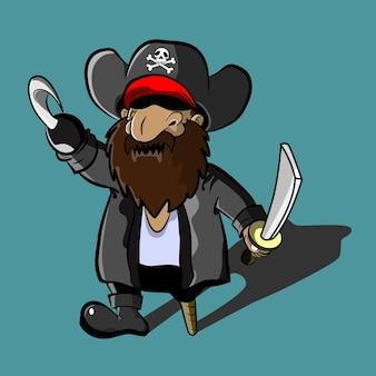 Der piraten-kapitän mit schwert- und hakenkarikatur