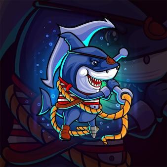 Der piratenhai mit dem anker-esport-maskottchen-design der illustration