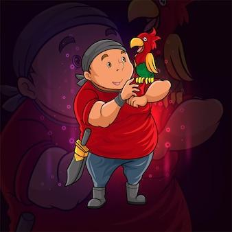 Der piratenmann spricht mit papageien-esport-logo-design der illustration