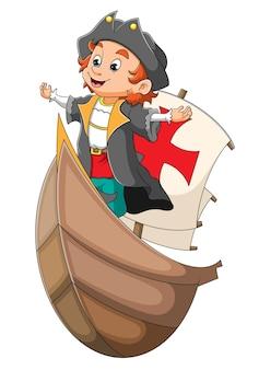 Der piratenmann steht auf dem piratenschiff der illustration