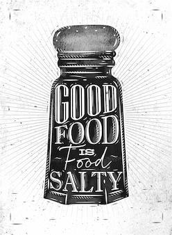 Der plakatsalzkeller, der gutes lebensmittel beschriftet, ist salziges lebensmittel