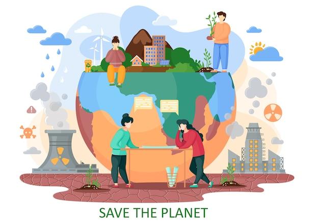 Der planet erde leidet unter menschlicher aktivität. der mensch bringt explosionen, abholzung, saure regenfälle, strahlungsemissionen und verschmutzte luft in die natur. planen sie, den planeten vor den auswirkungen zu retten