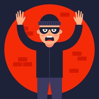 Der polizist fing den dieb im rampenlicht auf. finde den maskierten räuber. flache illustration.