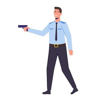 Der polizist mit waffe. vektorillustration im flachen cartoon-stil