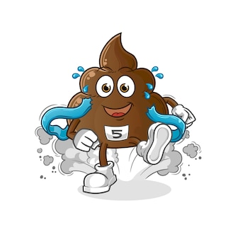 Der poop runner. cartoon maskottchen
